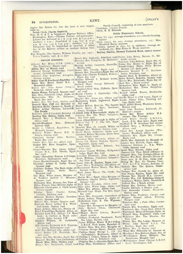 Kelly's Trade Directory 1913 for Kent, Surrey and Sussex